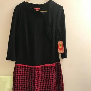 NEW SANGRIA LONG SLEEVE BLACK AND RED DRESS SZ 12
